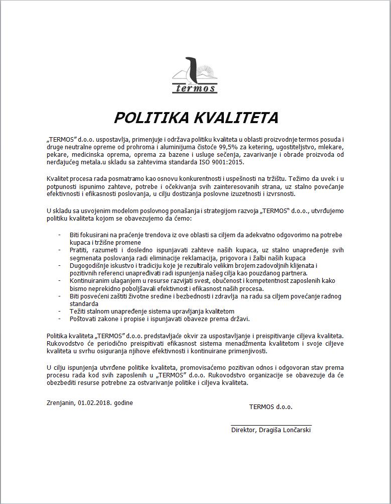 politika kvaliteta